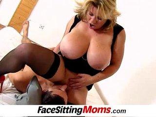 Huge tits mom Silvy Vee cunnilingus with a boy