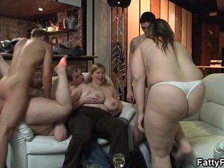Chubby party girl gives head and boned from behind