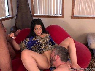 Cum Eating Cuckolds - Cuckold watches Nadia Ali go black
