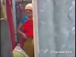 Aunty bathing outdoor maid