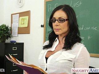 Brunette teacher Kendra Lust gets facialized